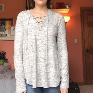 American Eagle Gray Hoodie with Lace Up
